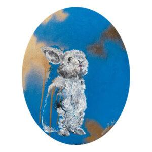 Kunst Gemälde Original Unikat Juliane Golbs Hase oval Leinwand Acryl Goldlack Goldcreme 2020 Wohnaccessoire Dekoration Chapeau Marén Hamburg Hafencity Elbphilharmonie